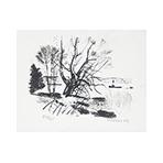 Signierte Originallithographie de  : Bord de fleuve