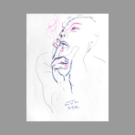Original signed drawing de Guttuso Renato : Smoking woman