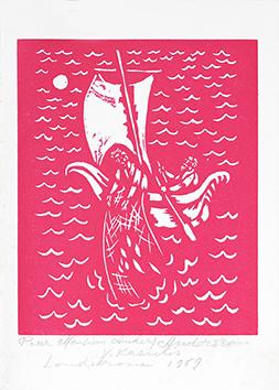 Signierte Originallinolschnitt de  : Fiskafänget