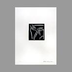 Original signed linocut de Kuroda Aki : Lettre anonyme I