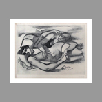 Original signed etching de Lhote Andr� : The beach, two swimmers
