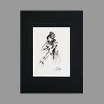 Signed drawing in ink de Catulle Claude : Fille au boa