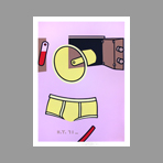 Original signed screenprint de Telemaque Hervé : The pink cupboard