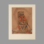 Original signed etching de Camacho Jorge : Les vitriers I