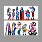 Signed single work de Muzo Jean-Philippe : Eleven characters III