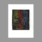 Original signed linocut de Combas Robert : L'homme Dragon