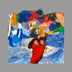 Original acrylic on paper de Guibal Henri : La barque blanche n°2
