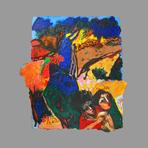 Signed acrylic on paper de Guibal Henri : Au pont d'Espagne