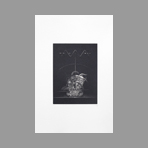 Original signed engraving de Ab� Akira : A vase and a flower