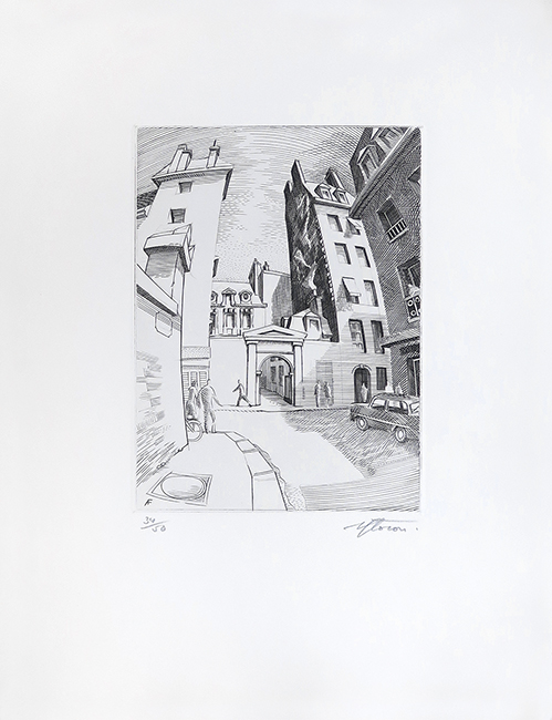 cde26e6617b Perspective parisienne Circa 1960. Gravure originale ...