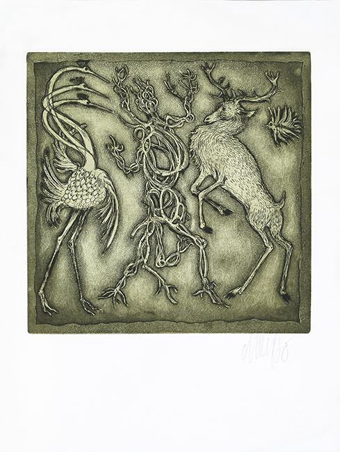 Original etching greetings card