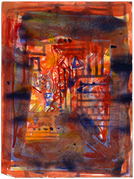 Aquarelle signée de  : Composition III