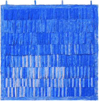 Oeuvre unique signée de  : Franges bleues