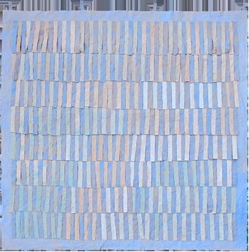 Oeuvre unique signée de  : Franges bleu clair