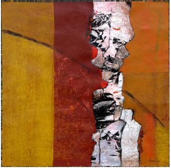 Peinture originale de  : Hommes colonne en brun