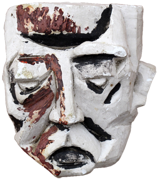 Signierte Original-Skulptur de  : Maske