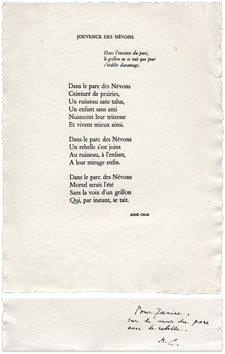 Signed single work de Char René : Jouvence des Névons
