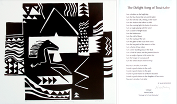 Linogravure originale signée de  : Hommage à Scott Momaday