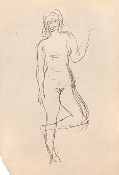 Drawing in ink de  : Naked woman standing