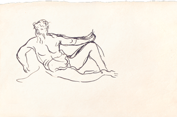 Original drawing in ink de  : Seated man