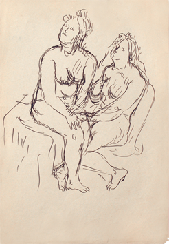 Drawing in ink de  : Two seated women