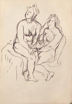 Dessin original de  : Deux femmes nues assises