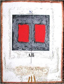 Gravure signée de  : Rouge sur noir