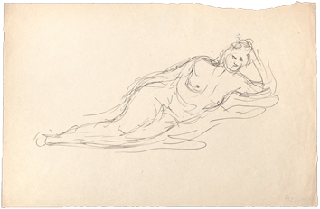 Original drawing in ink de  : Reclining nude woman