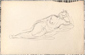 Dessin à l'encre original de  : Femme nue allongée