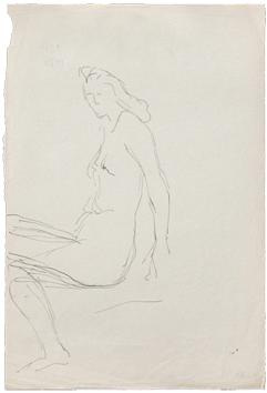 Original drawing de  : Sitted nude woman II