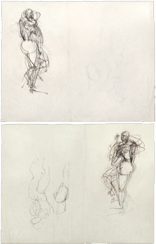 Drawings in ink de  : Studies for sculpture