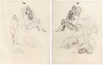 Drawings in ink de  : Studies of female nude II