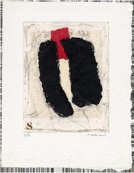 Gravure signée de  : Insert, rouge inséré