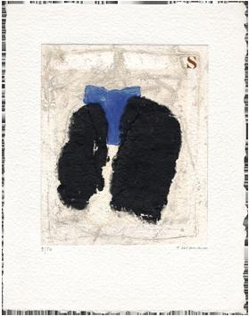 Gravure originale signée de  : Insert, bleu inséré