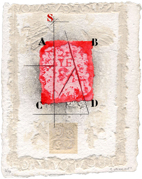 Gravure carborundum signée de  : Mise en cause rouge