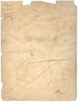 Dessin original signé de  : Autoportrait