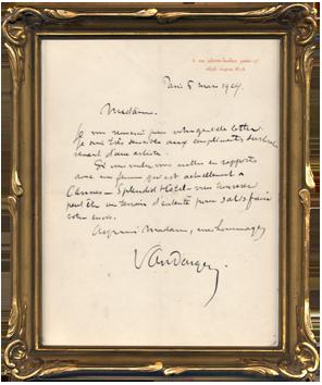 Lettre originale signée de  : Lettre autographe