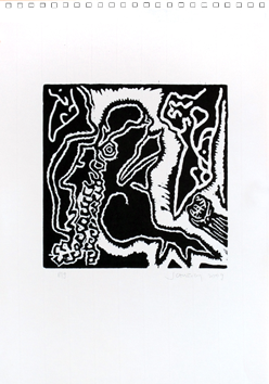 Original woodcut de Scanreigh Jean-Marc : Lézard