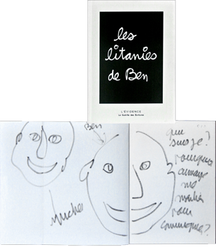 Book with original drawing de Ben (B. Vautier) : Les litanies de Ben