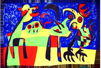 Lithographie originale de  : Le chien aboyant à la lune