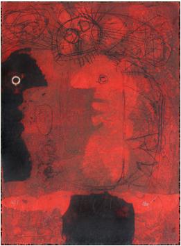 Gravure carborundum de  : Deux troubadours