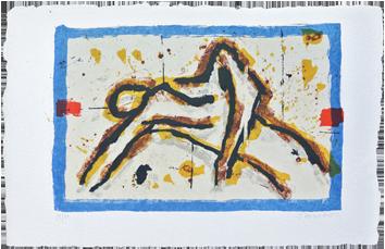 Litografía original firmada de  : Homme au repos