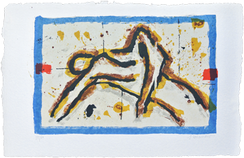 Lithographie originale signée de  : Homme au repos
