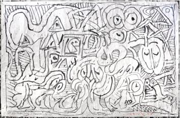 Drawing in ink de  : Toutes paupières baissées