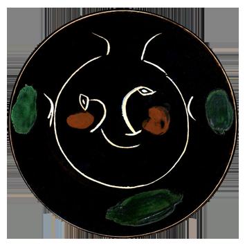 Céramique de  : Visage noir, assiette I