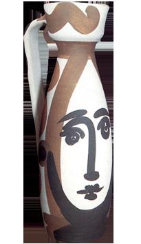 Céramique de  : Visage, Madoura Vallauris, pichet