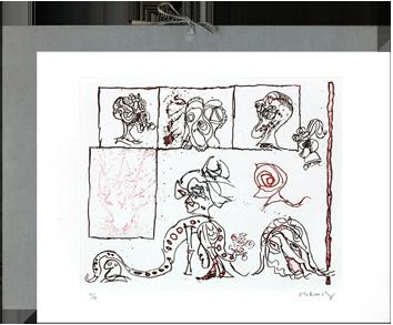Original signed etchings de  : Portfolio, Le test du titre