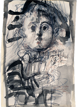 Original signed drawing de  : Child with parrot
