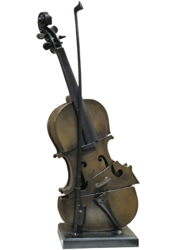 Signed bronze de  : Cut violin IV