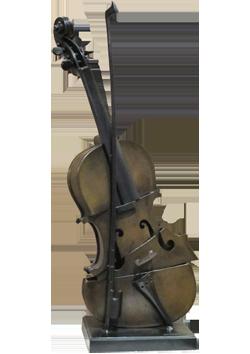 Bronze signé de  : Violon coupé IV